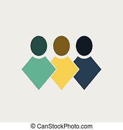 logo, folk, teamwork, icon., vektor, gruppe, illustrator
