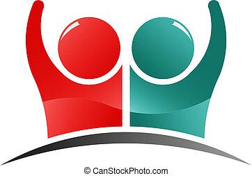 logo, folk, teamwork, ledsagere