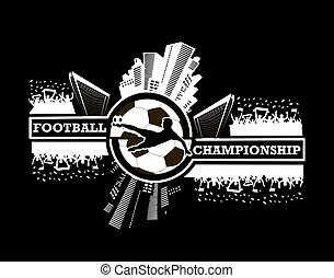 Logo football championship with urban elements and the...