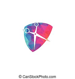 Scissors icon barbershop logo sign.