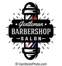 Logo for barbershop with barber pole