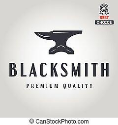 Logo for blacksmith, typographic logotype, badge or label