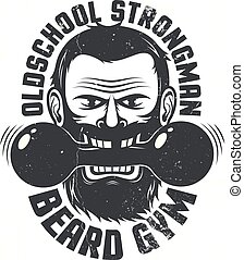 Logo for brutal fitness club. Bearded man with dumbbell in...