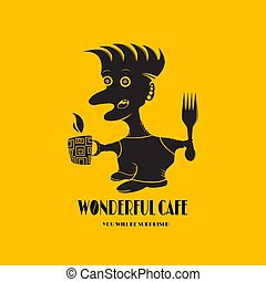 Logo for cafes with a person isolated on a yellow