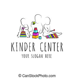 logo for child care centerand kindergarten. child development and educational games .