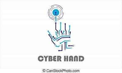 Logo for cyber hands, art video illustration.
