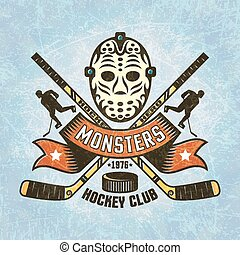 Logo for hockey team - retro Goalie mask crossed hockey...