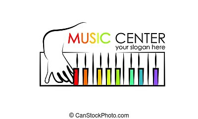 logo for preschool music center. Kid playing xylophone,...