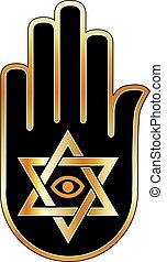 Logo for psychic or fortune teller- Star of David on ahimsa...