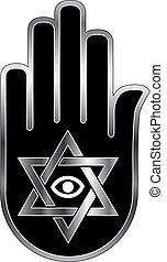 Logo for psychic or fortune teller -Star of David on ahimsa...