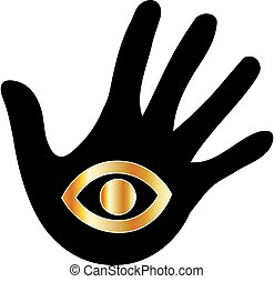 Logo for psychic or mind reader- Hand with third eye