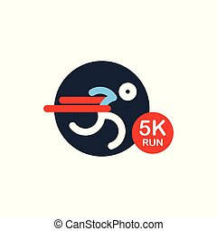 logo for running marathon. Silhouette Runner at Finish Line. Simple flat symbol. vector illustration