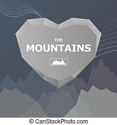 Logo for the company. Heart and stone mountains with place for text. Vector