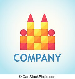 Logo for Toy Shop. Toy castle of cubes - Vector design illustration in flat style.