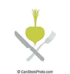 Logo for vegetarian restaurants or cafes. Green vegetable and knife and fork. Vector illustration