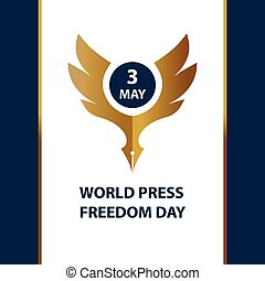 Logo for world day freedom press, sign for presentation event.