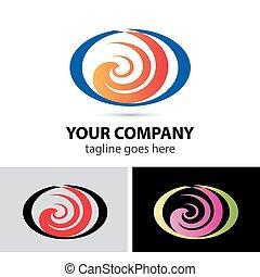 logo, form, spiral, abstrakt, ikon