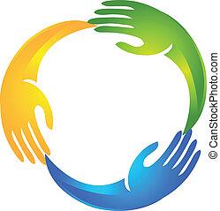 logo, forme, cercle, mains