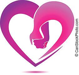 logo, forme coeur, tenant mains