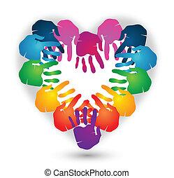 logo, forme, vecteur, mains, coeur