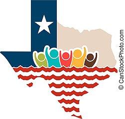 logo, fort, texas, illustration, gens