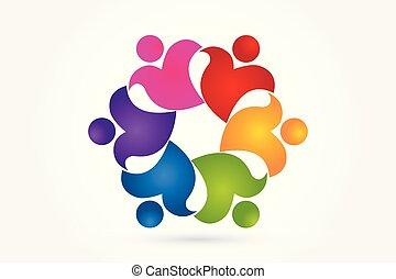 logo, freiwilliger, leute