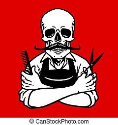 logo, fryzjer, czaszka, szablon