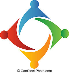 logo, fyrkant, teamwork, bilda