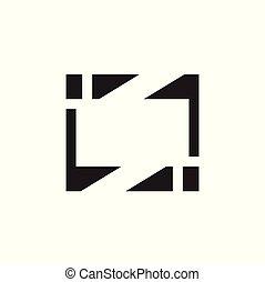 logo, géométrique, vecteur, carrée, cadre
