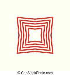 logo, géométrique, vecteur, carrée, raies