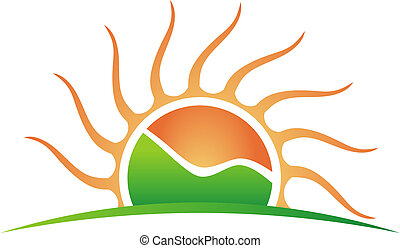 logo, góra, słońce