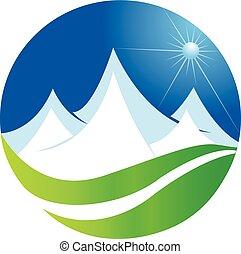 logo, góry, wektor, sieć, ikona