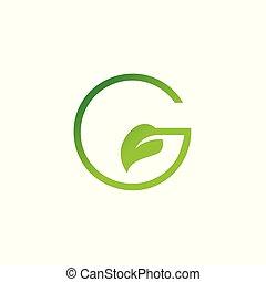 logo, g, blatt, brief, entwerfen elemente