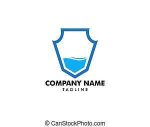 logo, gabarit, vecteur, bouclier, eau