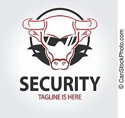 logo, garde corps, sécurité, sauvage, taureau, sunglasses., ou, icon., sauvegarde, protection, concept, compagnie, concept.