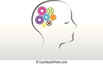 Logo gears in a woman brain symbol vector