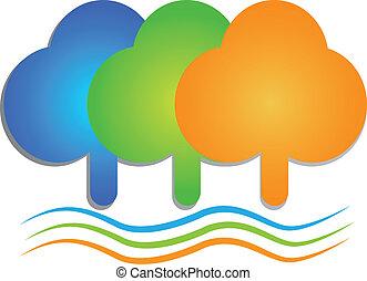 logo, gefärbt, bäume, wellen