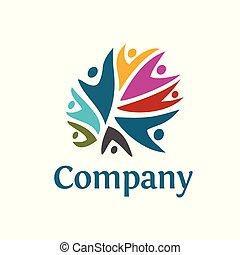 logo, gemeinschaft, bunte, leute
