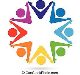 logo, gemeinschaftsarbeit, bunte, leute