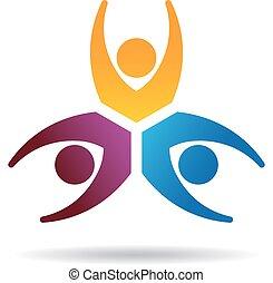 logo, gemeinschaftsarbeit, drei leute