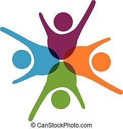 logo, gemeinschaftsarbeit, erfolg