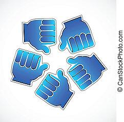 logo, gemeinschaftsarbeit, erfolg, hände