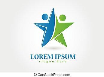 logo, gemeinschaftsarbeit, erfolg, leute