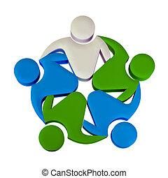 logo, gemeinschaftsarbeit, führer, 3d