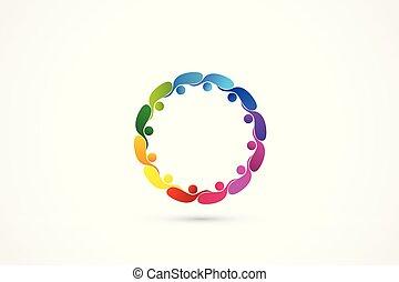 logo, gemeinschaftsarbeit, gemeinschaft, geschäftsmenschen
