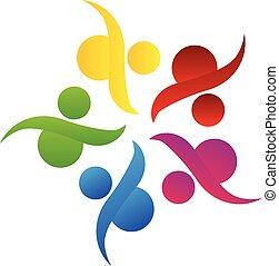 logo, gemeinschaftsarbeit, gemeinschaft, hilfe