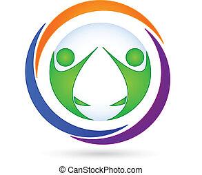 logo, gemeinschaftsarbeit, geschäftskarte