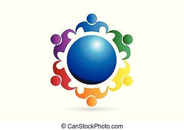 logo, gemeinschaftsarbeit, geschäftsmenschen