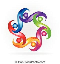 logo, gemeinschaftsarbeit, geschaeftswelt, bunte, leute