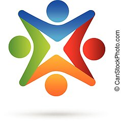 logo, gemeinschaftsarbeit, halten hände